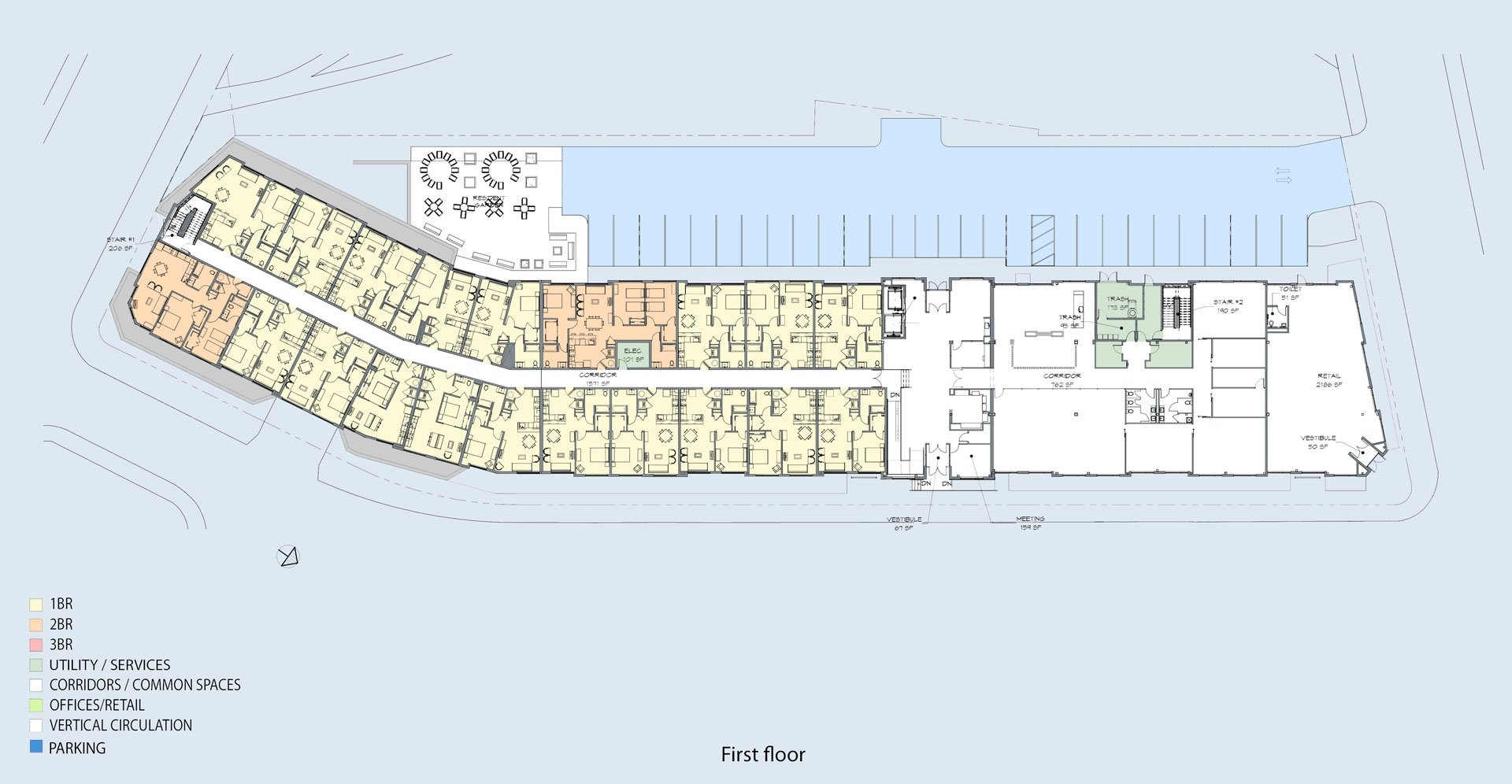 The Mark City Crossing first floor plan