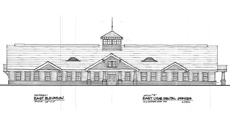 front elevation hand sketch